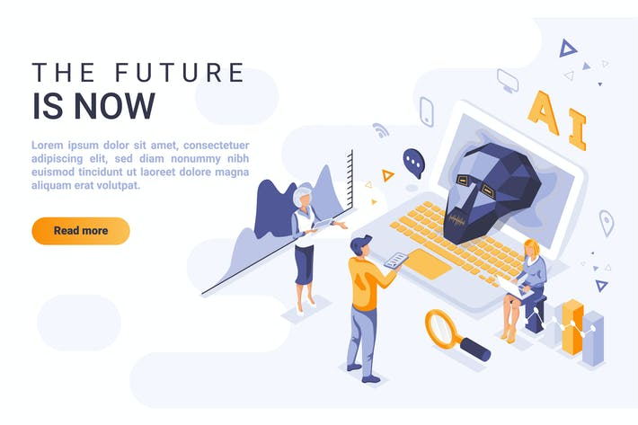 Artificial Intellige Isometric Header Flat Concept