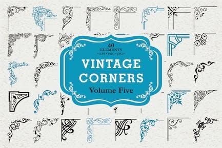 Vector Vintage Corners Set #5, 40 Elements