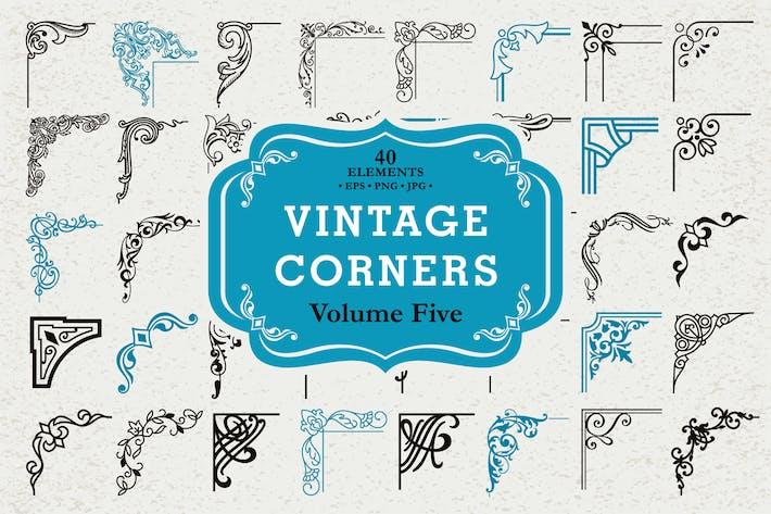 Vektor Vintage Ecken Set #5, 40 Elemente