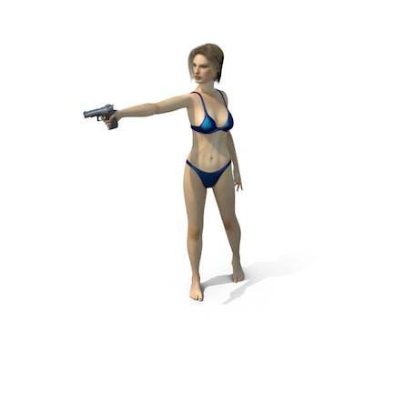 Swimsuit Girl Aiming Gun