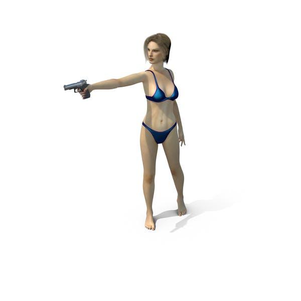 Купальник Девочка Прицеление Пистолет