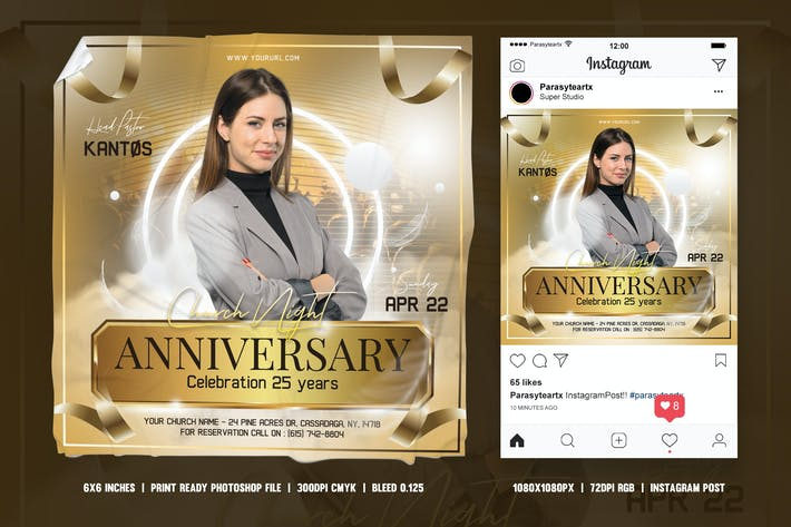 Thumbnail for Church Anniversary Square Flyer & Instagram Post