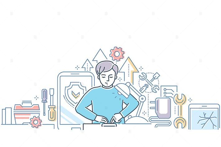 Thumbnail for Mobile repair service - line design illustration