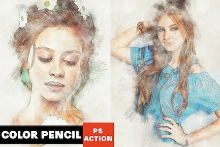 Цветной карандаш Photoshop действие
