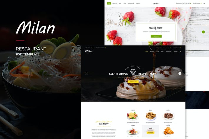 Thumbnail for Milan : Restaurant PSD Template
