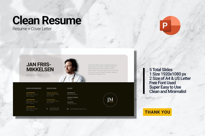 Thumbnail for Clean Chef Resume_Powerpoint