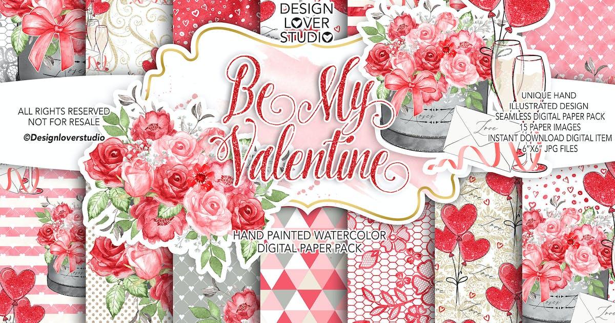 Download Be My Valentine digital paper pack by designloverstudio