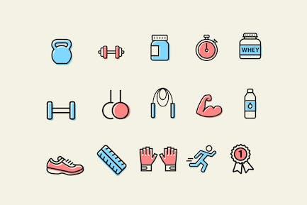 15 Íconos de ejercicios y músculos