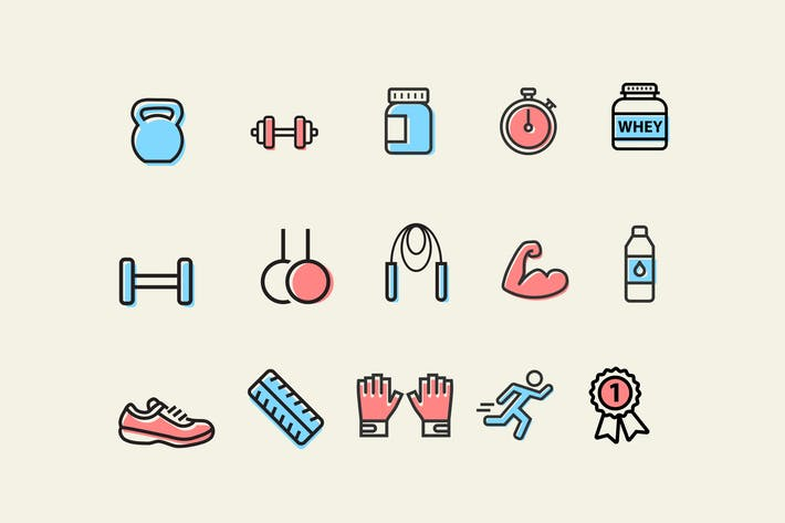 Thumbnail for 15 Exercise and Muscle Icons