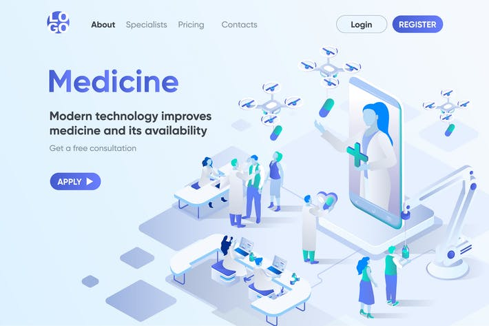 Thumbnail for Medicine Isometric Concept Landing Page