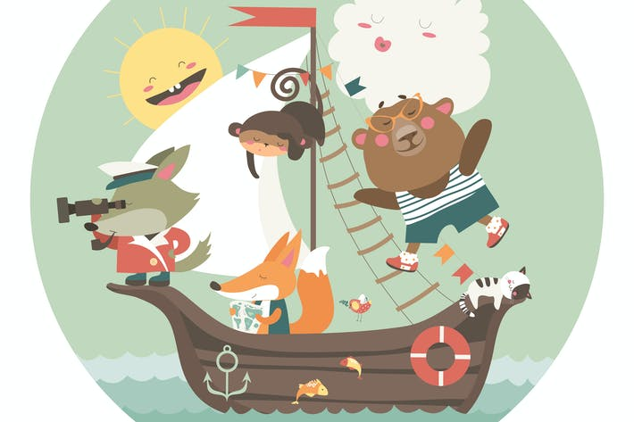 Cover Image For Cute animals travelling by ship on sea