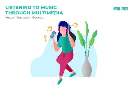 Listening to Music Through Multimedia