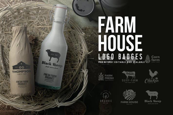Farm House Logo Badges
