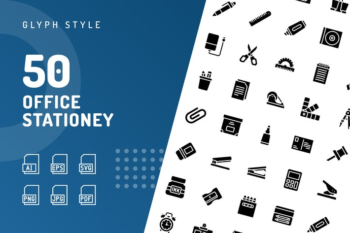 Thumbnail for Office Stationery Glyph Icons