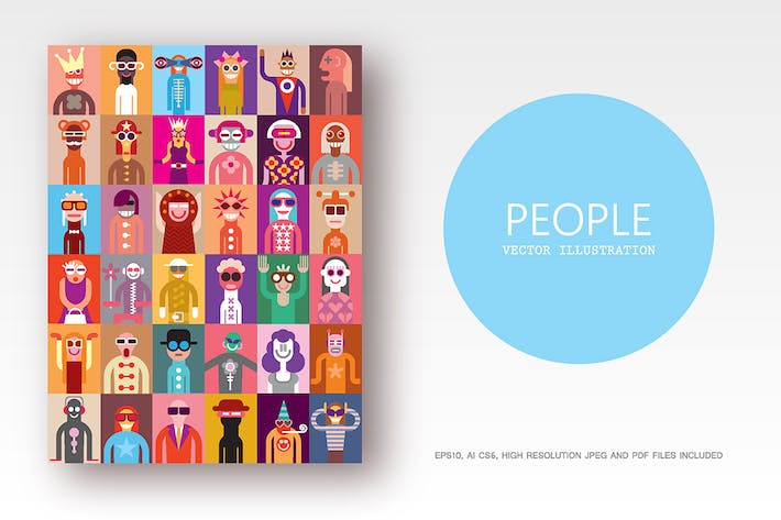 Thumbnail for Large bundle of vector people images, clip art