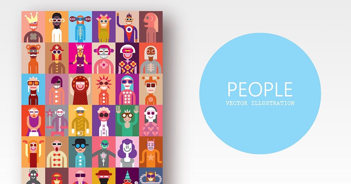 Download Large bundle of vector people images, clip art by danjazzia