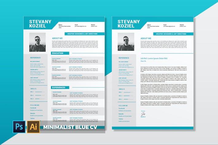 Thumbnail for Minimalist Blau | Lebenslauf & Lebenslauf