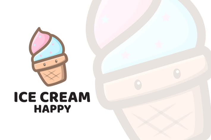 Thumbnail for Ice Cream Happy Cute Logo Template