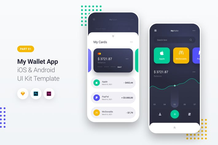 Thumbnail for My Wallet App iOS & Android UI Kit Template 1