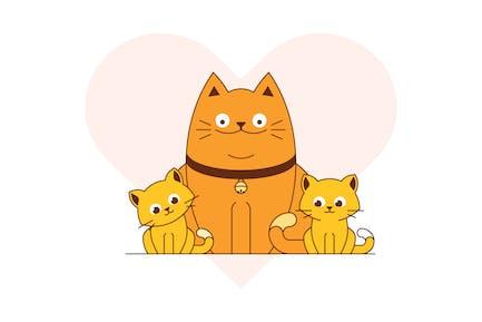 Katzenfamilie — Kätzchen und große Katze