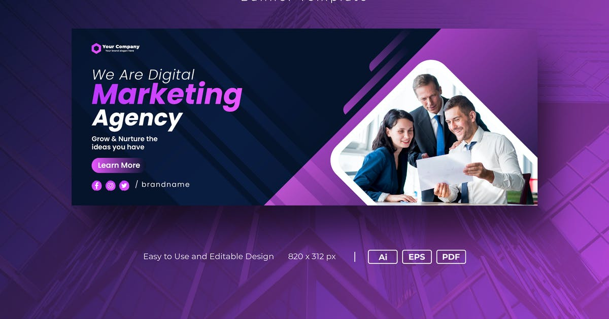 Download Digital marketing Facebook Cover banner template by PrexTheme