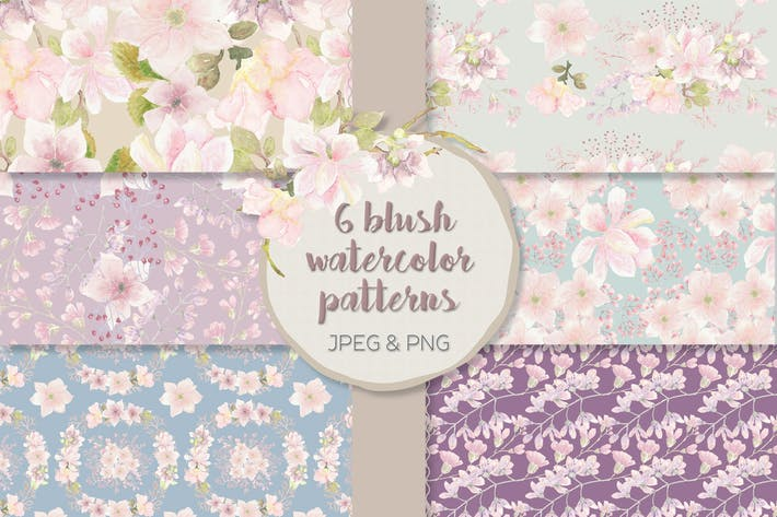 Thumbnail for Blush Magnolias Watercolor Patterns