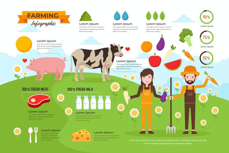 Organic Farming Infographics PSD and AI Vector
