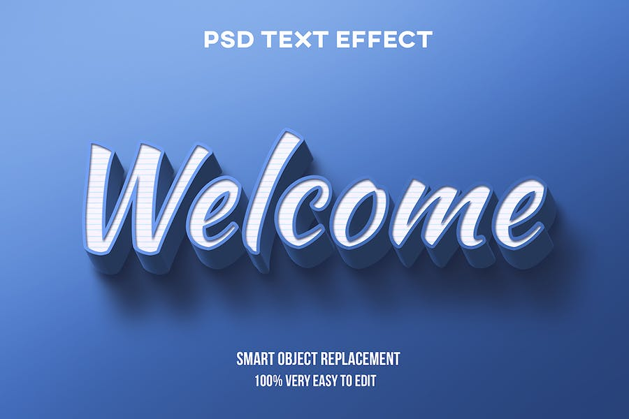 Blue realistic text effect