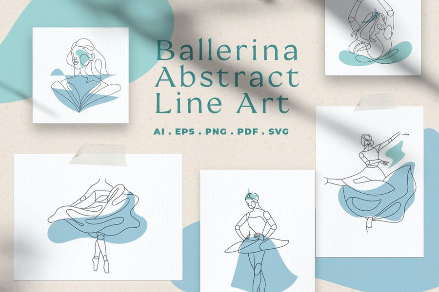 Abstract Ballerina Vector Line Art