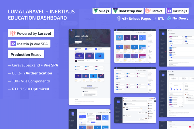 Luma Laravel LMS & Vue Education Admin Dashboard