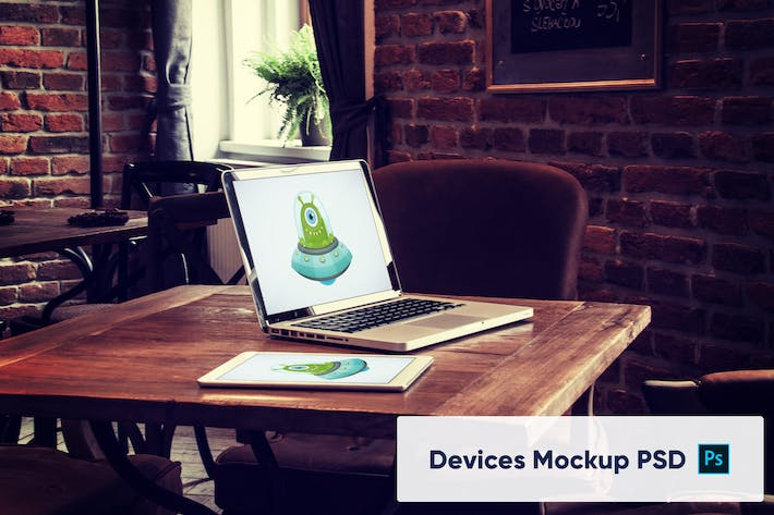 Thumbnail for Laptop and Tablet on Wooden Desk - Mockup PSD