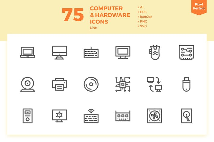 Thumbnail for 75 Computer and Hardware Icons (Line)