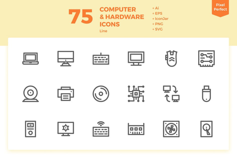 Download 75 Computer and Hardware Icons (Line) by inipagi