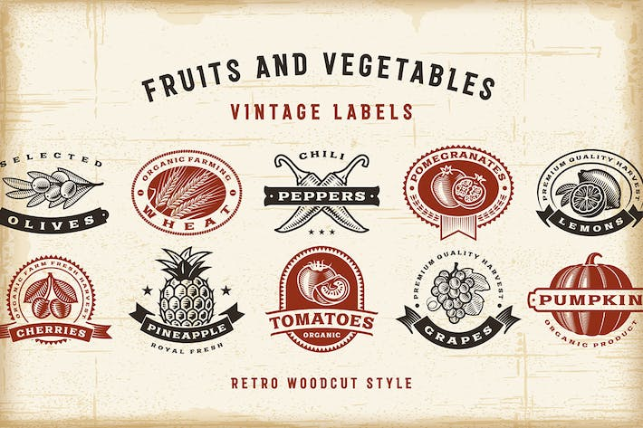 Thumbnail for Vintage Fruits And Vegetables Labels Set