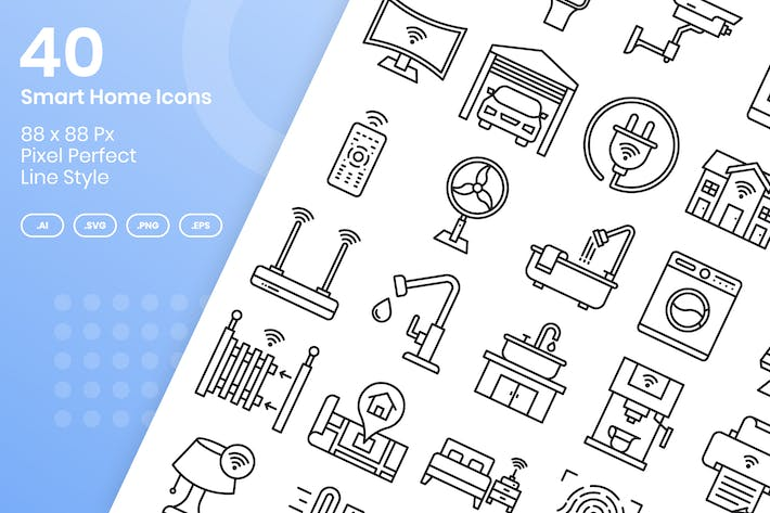 Thumbnail for 40 Smart Home Icons Set - Line