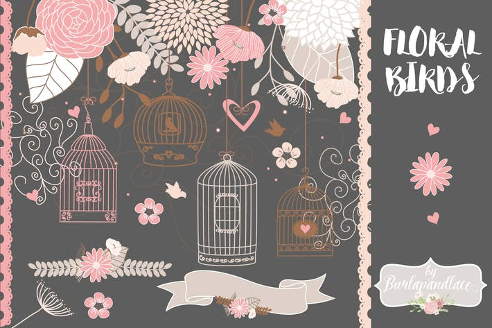 Thumbnail for Vector Bird cage flower clipart, flower clipart