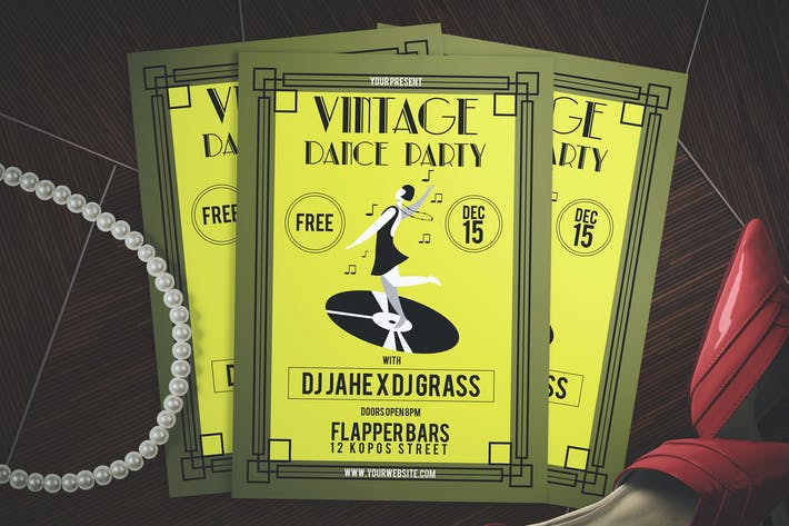 Cover Image For Vintage Dance Party Flyer