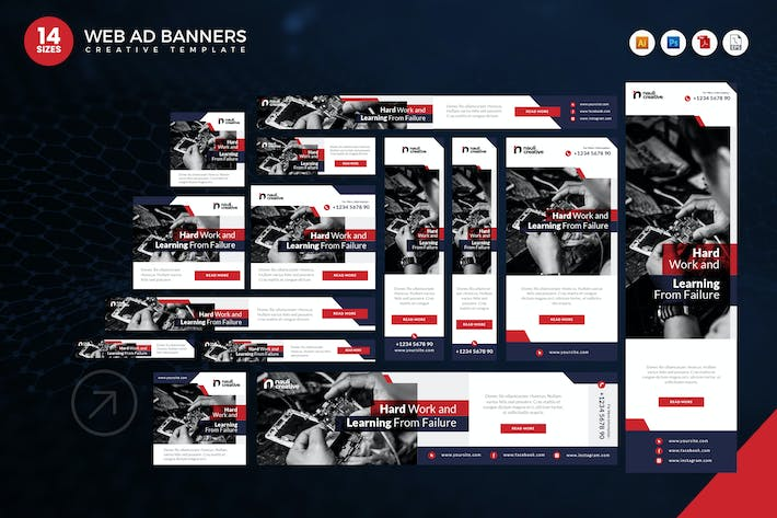 Thumbnail for 14 Modern Technology Web Ad Banners Set