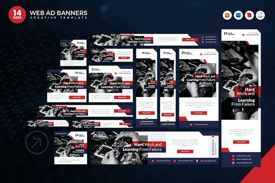 14 Modern Technology Web Ad Banners Set
