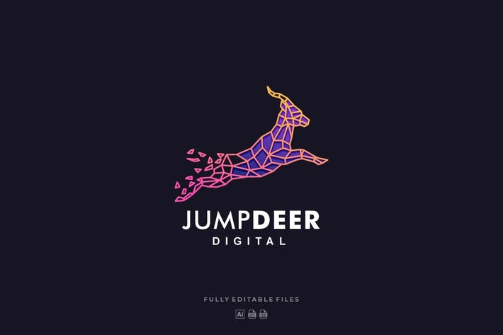 Thumbnail for Deer Jumping Color Line Logo Template