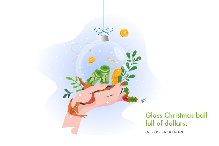 Thumbnail for Glass Christmas ball full of dollars