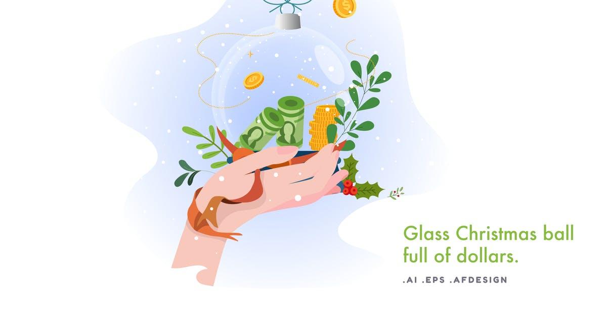 Download Glass Christmas ball full of dollars by YummyDs