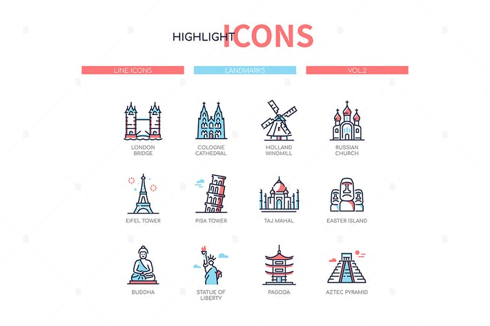 Thumbnail for World famous landmarks - line design style icons
