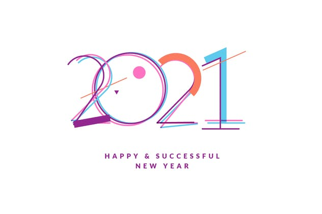 Modern New Year 2021 Greeting Cards and Signs Set