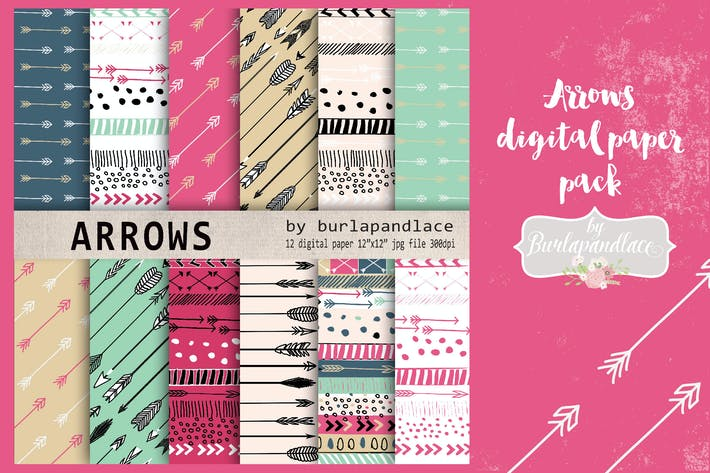 Thumbnail for Arrows digital paper pack
