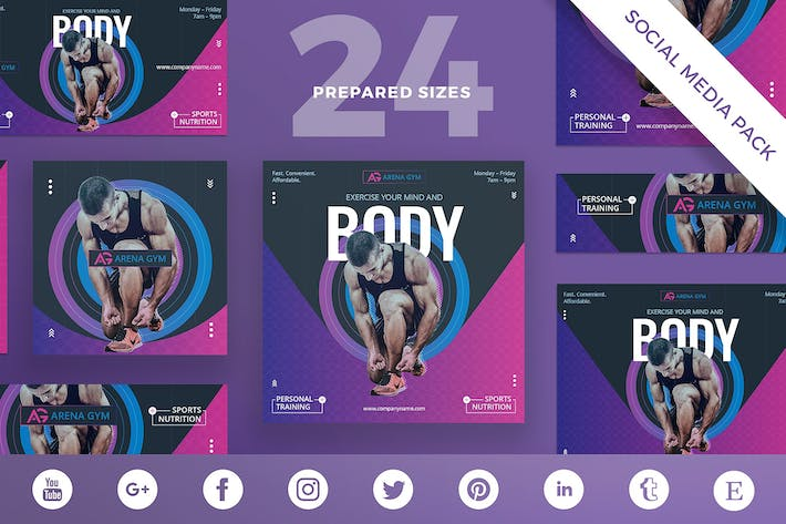 Thumbnail for Gym Workout Social Media Pack Template