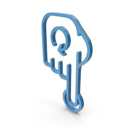 Icono azul girar dedo