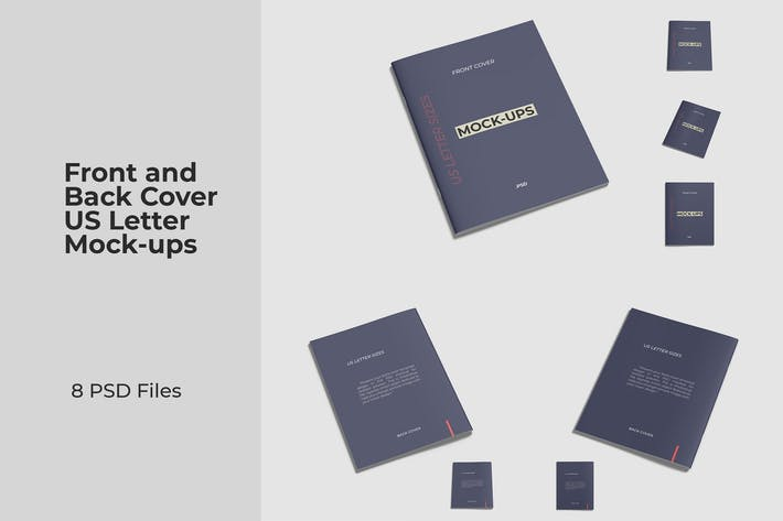 Thumbnail for Front and Back Cover US Letter Brochure Mockups