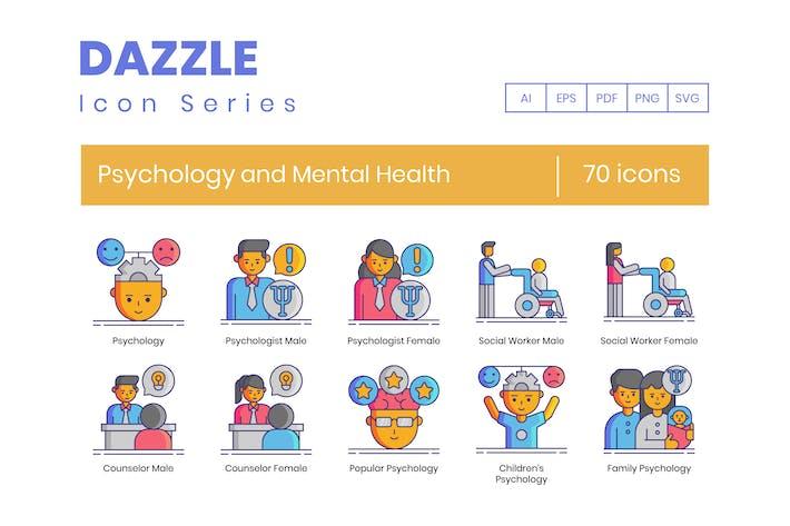 70 Icons für Psychologie und psychische Gesundheit