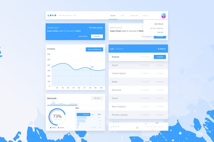 Thumbnail for Blue Splash - Dashboard Ui Kit